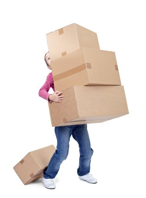 stress management strategies, girl balancing boxes